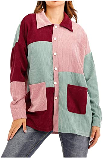 Amazon.com: SCOFEEL Women's Color Block Corduroy Jacket Coat .
