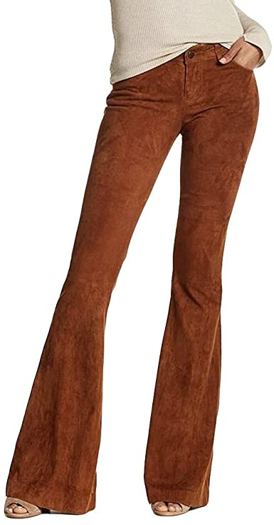 Toimothcn Women's Suede/Corduroy Bell Bottom Flare Trousers High .