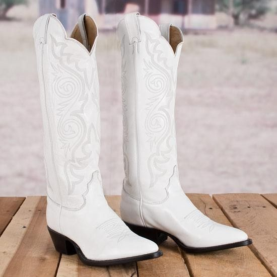 Justin Ladies' White Dyeable Boots | White cowboy boots, Cowgirl .
