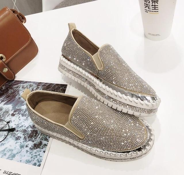 European fashion Espadrilles Shoes Woman leather creepers flats .