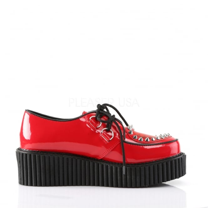 Demonia Creepers 108 Ladies Shoes Red Patent Low Sole Heart Stud .
