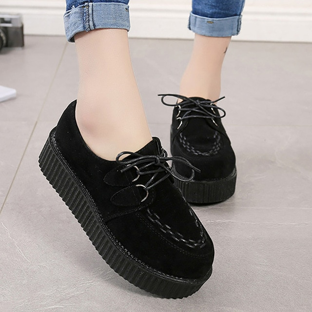 Creepers Women Flats Comfort Women Shoes Platform Shoes Lace Up .