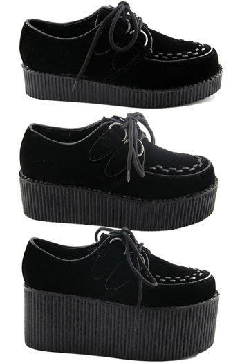 Womens Black Platform Lace Up Ladies Flats Creepers Punk Goth .