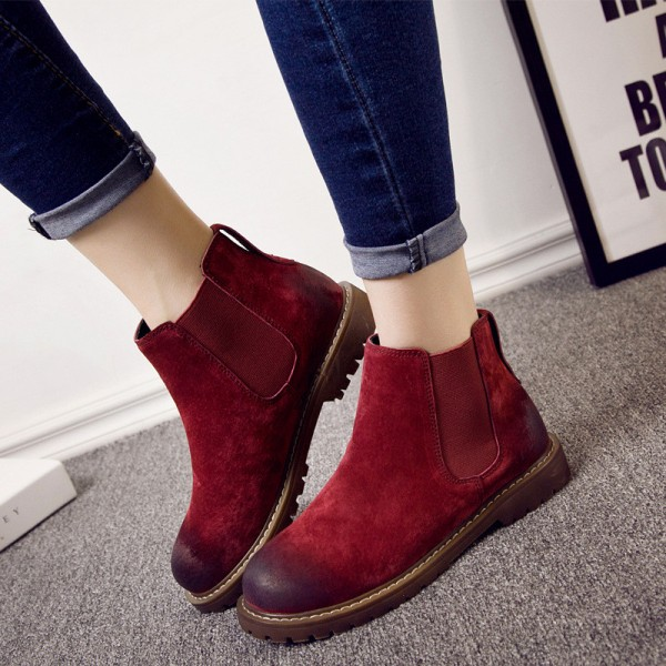 Buy Warm Winter Boots Pure Leather Ankle Boots Slip On Creepers .