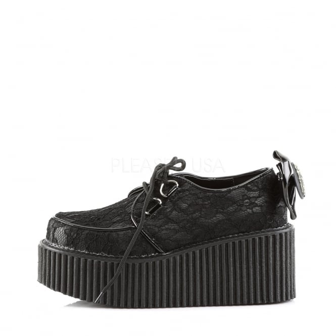 Demonia Creepers 212 Ladies Shoes Black Lace Overlay Featuring .