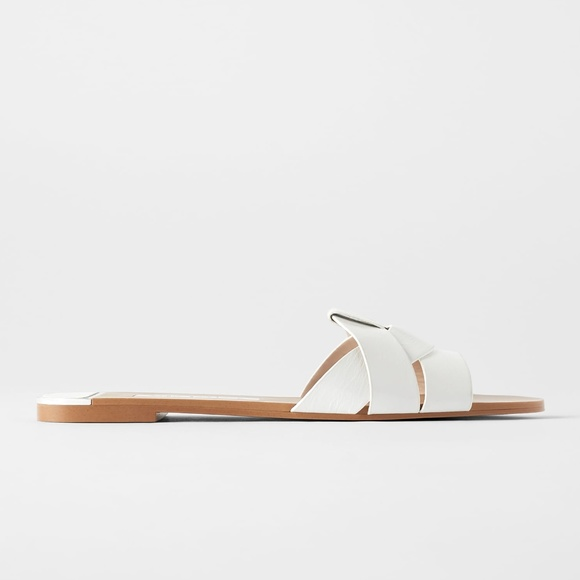 Zara Shoes | White Leather Crossover Sandals | Poshma