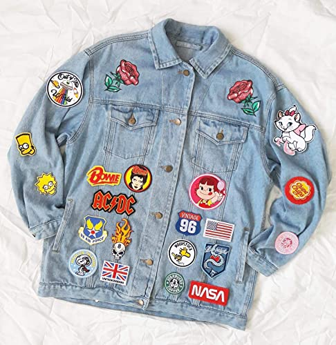Amazon.com: Hand reworked vintage oversize jean jacket with .