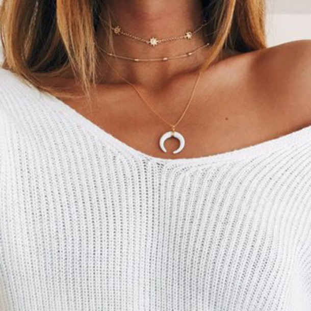 jewels, necklace, gold, choker necklace, cute, chain, stars, moon .