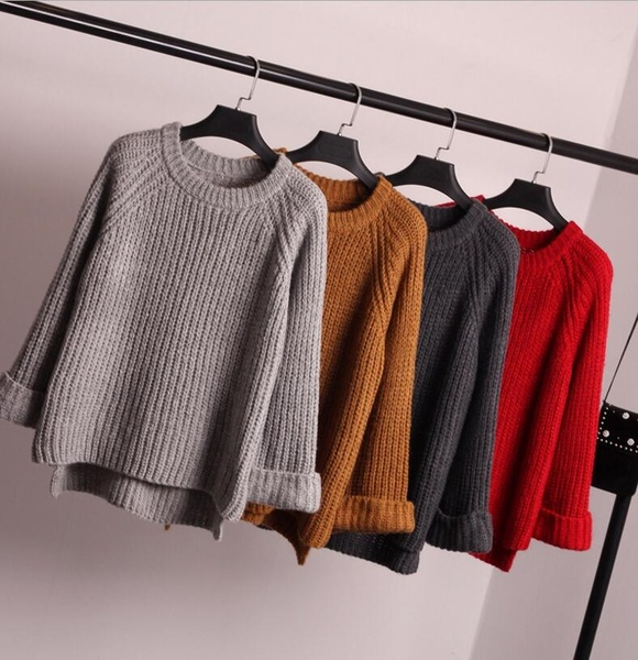 Red Sweater Women Pull Femme 2017 Korean Jumper Knitted Oversized .