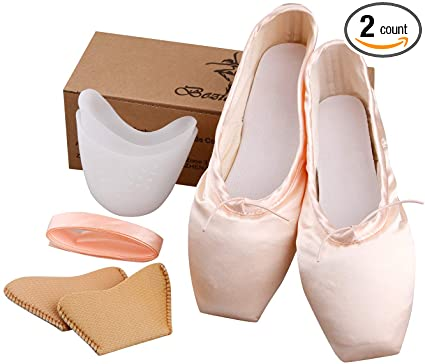 Amazon.com: KUKOME Ballet Dance Shoes Pink Satin Pointe Shoes with .