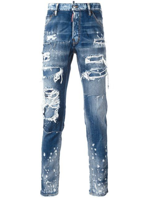 Dsquared2 Glamhead Layered Distressed Jeans | ModeSens | Mens .