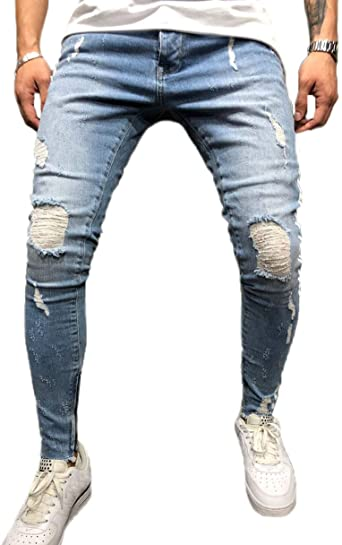 FUOE Men's Casual Distressed Ripped Destroyed Jeans Slim Fit .