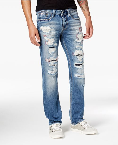 GUESS Men's Vermont Slim-Straight Fit Stretch Destroyed Jeans .