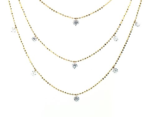 necklaces, diamond necklaces, 14k yellow gold triple layer pierced .