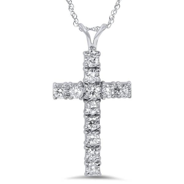 Shop 14k White Gold 1ct TDW Diamond Cross Necklace - On Sale .