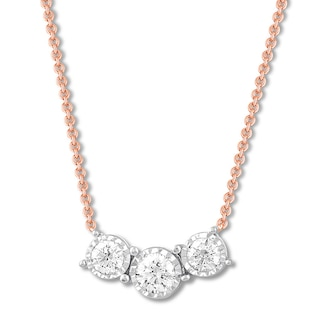 Three-Stone Diamond Necklace 1/4 ct tw Round-cut 10K Rose Gold .