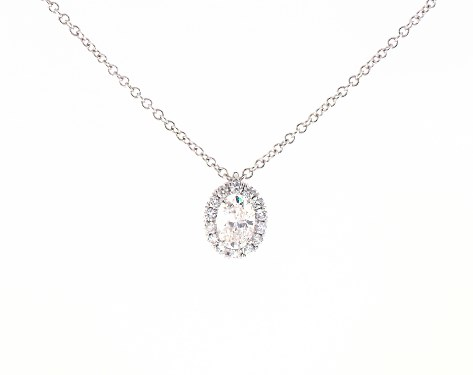 necklaces, diamond necklaces, 18k white gold halo oval diamond .