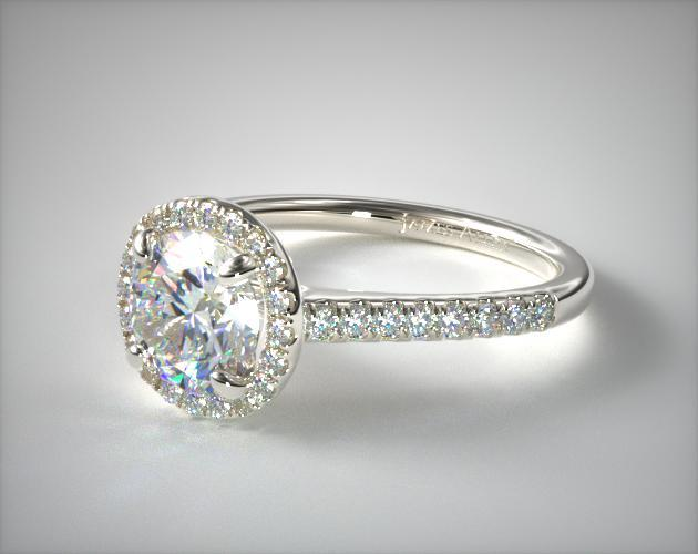 Pave Halo and Shank Diamond Engagement Ring (Round) | 14K .