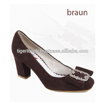 Dirndl Shoes,Women Suede Leather Shoes Trachten,Bavarian Shoes .