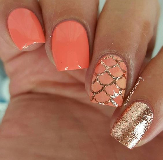 Coral | Awesome Spring Nails Design for Short Nails | Easy Summer .