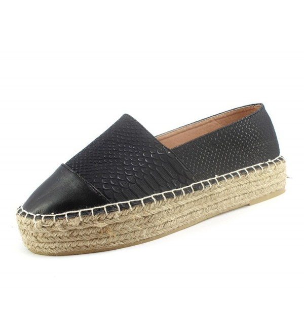 Women's Pleather Platform Slip-on Espadrilles (8- black) - CS12I4M95