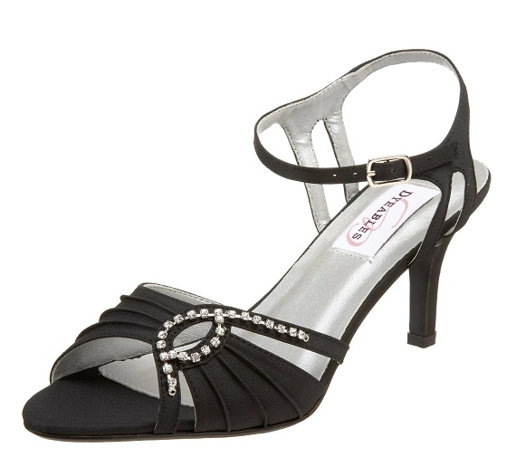 Ankle strap black evening sandals for women 20