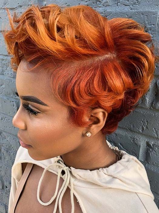 Exotic Red Pixie Hair Cut Ideas