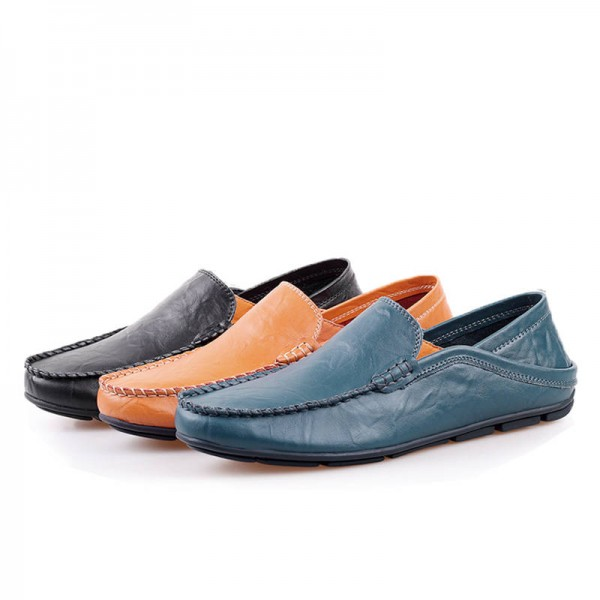 Genuine Leather Men Loafers Comfortable Casual Flat Fashion .