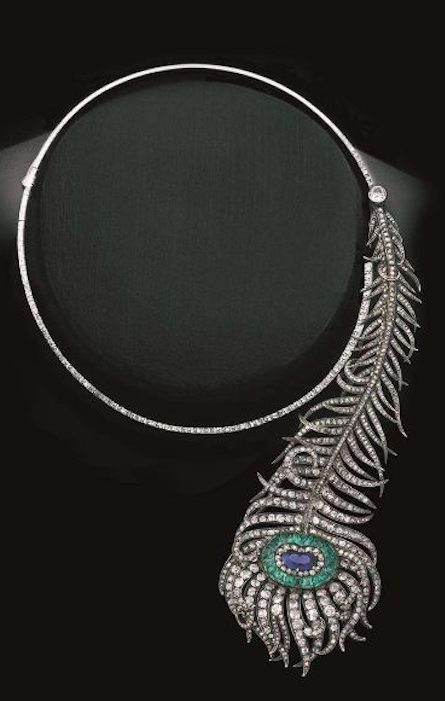 An important peacock feather necklace by Boucheron with Royal .