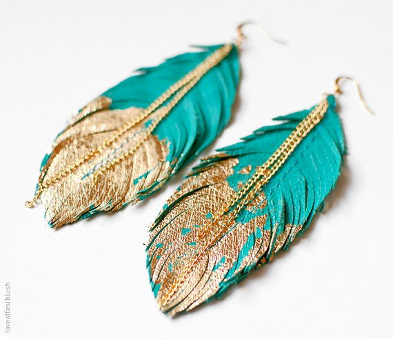 Feather Earrings Leather Feather Jewelry Dipped in Gold | Feather .