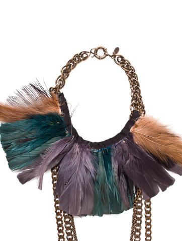Feather Necklace | Feather necklaces, Lanvin jewelry, Chain link .