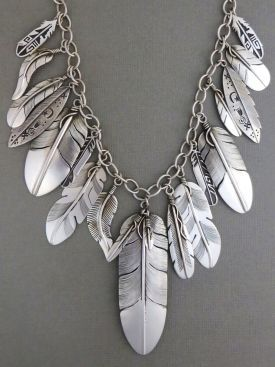 Sterling Silver Feather Necklace - Native American Silver Feather .