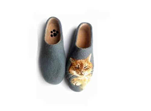 Amazon.com: Custom Felted slippers with cat portrait, Woolen clogs .