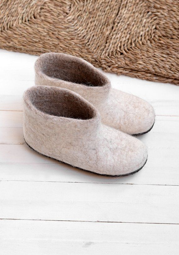 White felt boots from wool- ecofriendly slippers- hygge boots .