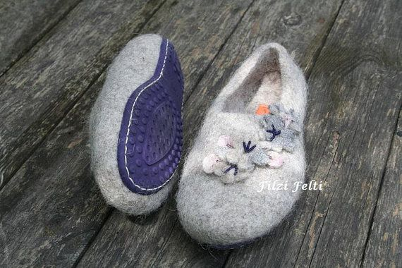 Women's slippers in Beige with natural soft sole in Purple, warm .