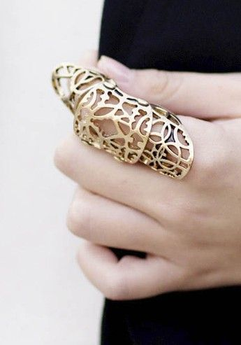Articulated Armour Ring - bold & pretty, statement finger .