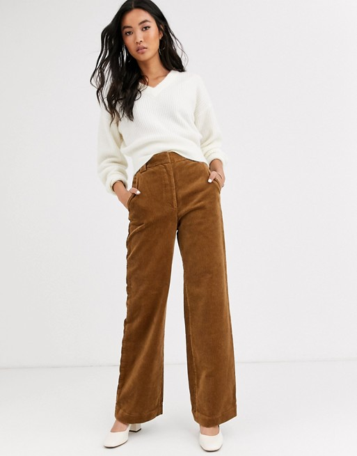 & Other Stories cord flared pants in camel | AS