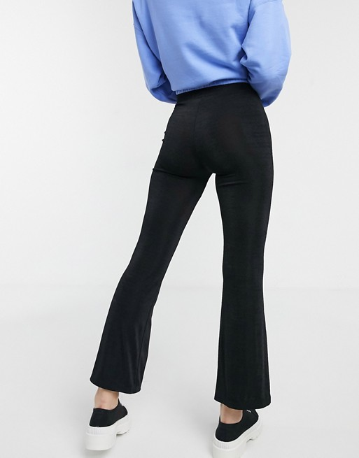 Monki basic jersey flared pants in black | AS