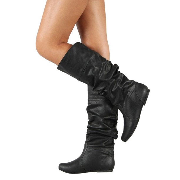 Wodstyle - Womens Slouch Mid-Calf Boots Ladies Flat Slip On Knee .
