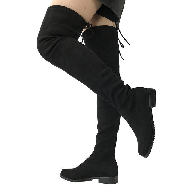 Thigh High Flat Boots Women Over the Knee Boots — GoBli