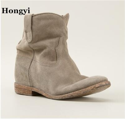 Women Ankle Boots Suede Autumn Shoes Flat Nubuck Leather Retro .