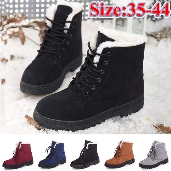 Ladies Winter Warm Fur Lined Casual Ankle Snow Boots Women Flat .