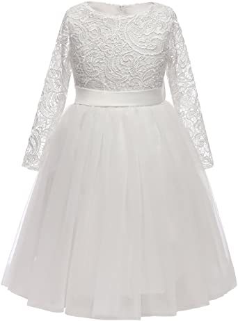 Amazon.com: Flower Girl Dress Long Sleeves Lace Top Tulle Skirt .