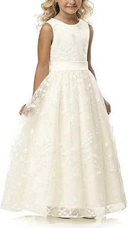 Amazon.com: A line Wedding Pageant Lace Flower Girl Dress with .