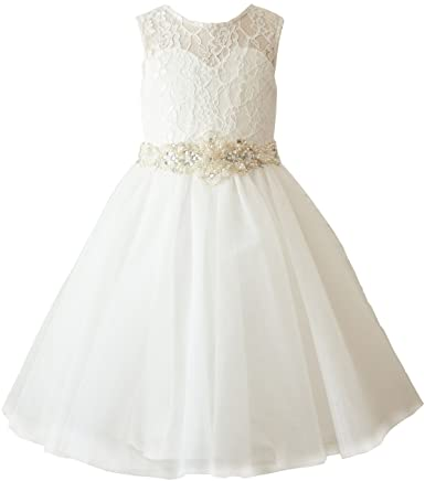 Amazon.com: Miama Ivory Lace Tulle Wedding Flower Girl Dress .