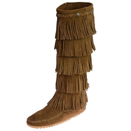 Minnetonka Moccasins 1658 - Women's 5 Layer Fringe Boot Dusty .