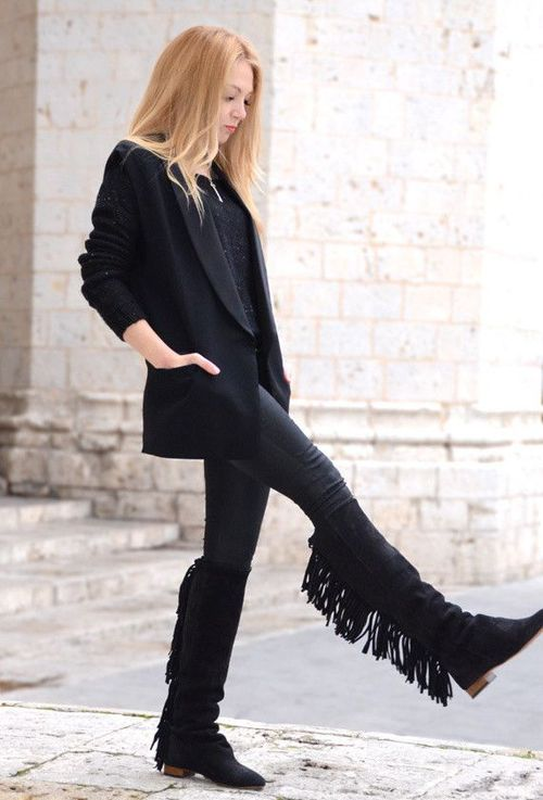 Fringed boots for ladies