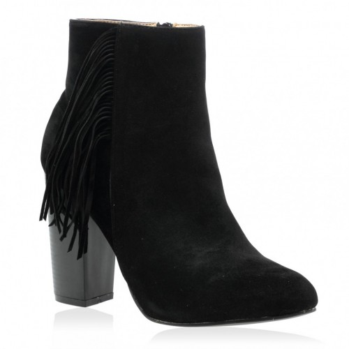 Jaimie Fringed Boots in Black Faux Suede Ankle Boots For Ladies .