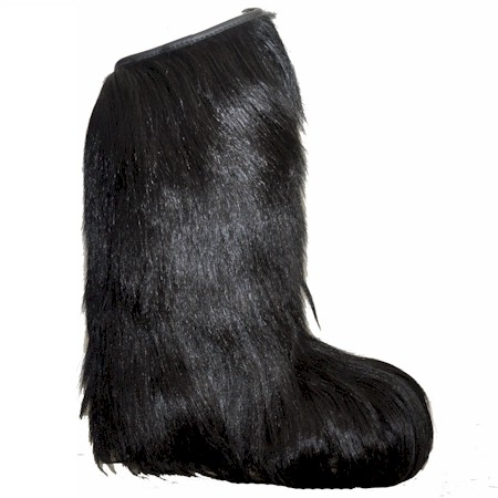 Regina womens Knee High BLACK long hair fur boot - Alpine Accessori