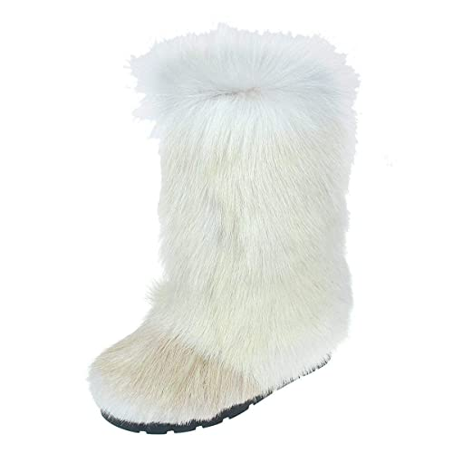 Amazon.com: White Fur Boots for Women, Long Fur Boots, Yeti Boots .